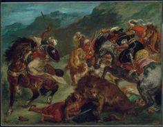Lion Hunt - Eugene Delacroix - Completion Date: 1858