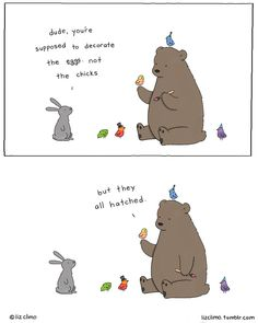 comics and cartoons Artist Liz Climo has created a charmingly quirky animal kingdom, and she continues expanding it. Funny Animal Videos, Cute Funny Animals, Funny Cute, Hilarious, Animal Jokes, Funny Videos, Liz Climo Comics, Funny Comic Strips, Cartoon Jokes