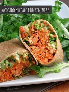 Avocado Buffalo Chicken Wraps - creamy avocado and Greek yogurt spread replace the mayo in this spicy buffalo chicken salad. #recipes #healthy  #WeekdaySupper