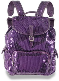 ~A glittery sequined pink backpack~ Purple Love, All Things Purple, Shades Of Purple, Pink Purple, Purple Stuff, Purple Sparkle, Purple Purse, Purple Shoes, Purple Bags
