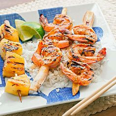 Southeast Asian Coconut Shrimp: Sweet, citrus-y, and slightly spicy, these Asian-inspired shrimp skewers go great with steamed rice and grilled pineapple skewers.