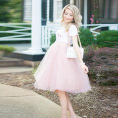 Casual 2017 Pregnant Tulle Skirts Blush Pink For Women Plus Size Elastic Knee Length Tulle Skirt Maternity Pregancy Tutu Skirt #Affiliate