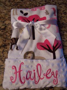 Soft personalized minky fabric blanket 30 x by PreciousLoveDesigns, $35.00