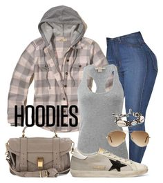 """""""Desportivo"""" by alice-fortuna on Polyvore featuring Hollister Co., Proenza Schouler, Michael Kors, Golden Goose, Ray-Ban, Rebecca Minkoff and Hoodies"""