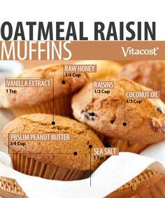 Trim With PBSLIM: PBSLIM Oatmeal Raisin Muffins Recipe #Vitacost #Recipe #Foodie