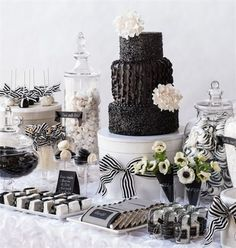 See more about black white, white desserts and white dessert tables. White Dessert Tables, White Desserts, Black White Parties, Black And White Theme, Black And White Party Decorations, Black Accents, White White, Candy Table, Candy Buffet