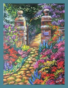 Rose Gate is the  Nove 2 2016 weekly release. This is a garden painting designed in the style of the late Thomas Kincade.