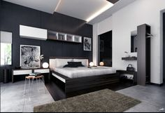 spacious-modern-bedroom-ideas-with-platform-bed-and-globe-shaped-table-lamps-under-led-lights