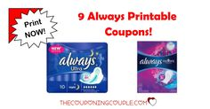 Check out these 9 Always Printable Coupons that are available right now. These won't last long so be sure to print now!  Click the link below to get all of the details ► http://www.thecouponingcouple.com/always-printable-coupons/ #Coupons #Couponing #CouponCommunity  Visit us at http://www.thecouponingcouple.com for more great posts!