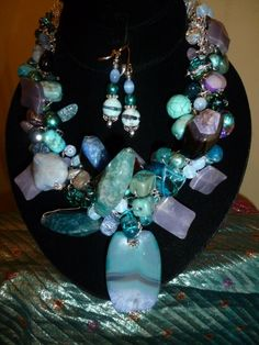 Turquoise and Amethyst Druzy Pendant Hand Crocheted on Silver Wire