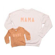 Mama + Me Sweatshirt Set - Black Sweatshirts/Peach Retro Momma Shirts, Family Shirts, T Shirt Press, Peach Shirt, Matching Family Outfits, Baby Sweaters, Custom Shirts, Crew Neck Sweatshirt, Kids Fashion