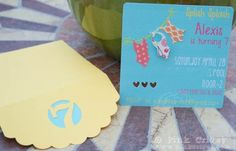 Pool Party invites using Silhouette Cameo