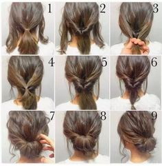 Step by step up do to create an easy hair style that looks lovely but is simple . Step by step up do to create an easy hair style that looks lovely but is simple to do. Easy hair up dos for medium hair. Up Dos For Medium Hair, Medium Hair Styles, Curly Hair Styles, Medium Hair Updo Easy, Updos For Medium Length Hair Tutorial, Bun With Short Hair, Medium Length Updo, Updo Styles, Short Styles