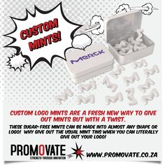 Promovate is South Africa's leading ✅✅✅ branded promotional gifts, items & clothing supplier. Add your LOGO to your products. Sugar Free Mints, Mint Tins, Mint Candy, When You Can, Custom Logos, Candies, Boxes, Shapes, Colour