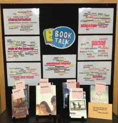 Book Talk: Could use this idea for teaching 4th and 5th graders how to write quality book reviews! School Library Lessons, Library Lesson Plans, Library Inspiration, Library Ideas, Library Activities, Educational Activities, Library Book Displays, Library Work, Library Bulletin Boards