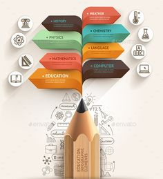 Education Pencil Arrow Infographics Template - Infographics