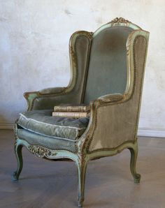 1800's Antique French Wing Bergere Upholstered