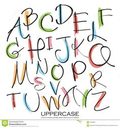 Black Colorful Alphabet Uppercase Letters.Hand Drawn Written Wit - Download From Over 54 Million High Quality Stock Photos, Images, Vectors. Sign up for FREE today. Image: 63336961