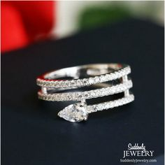What a great ring. Sterling, too.   Sterling Silver Cubic Zircon Micro Pave Heart Shape Multi Layer Ring For Women