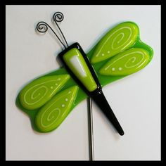Glassworks Northwest - Lime Dragonfly Plant Stake - Fused Glass Garden Art via Etsy