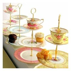 High Tea for Alice CUSTOM 3 Tier Tea Cupcake Stand of Vintage China to Match Wedding Colors, Party or Home Decor Scheme found on Polyvore