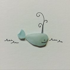 Little sea glass whale original art by sharon nowlan by PebbleArt