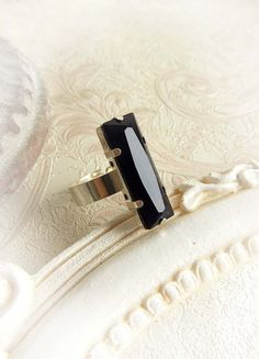 Black rectangle Sterling silver Swarovski by MidnightVision