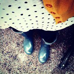 Hunter rain boots + polka dots