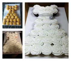 What a lovely cake idea for a bridal shower, engagement party, small wedding or First Holy Communion. Could also be done in other colors for a girl& birthday party - even if she& a grown up girl ; Wedding Dress Cupcakes, Bridal Shower Cupcakes, Shower Cakes, Cupcake Wedding, Dress Wedding, Baptism Cupcakes, Wedding Cakes, Pull Apart Cupcake Cake, Pull Apart Cake