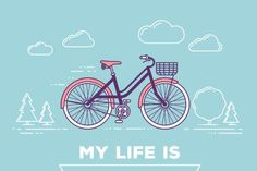 Download Bicycle with basket and seamless pattern Graphics by wowomnom…