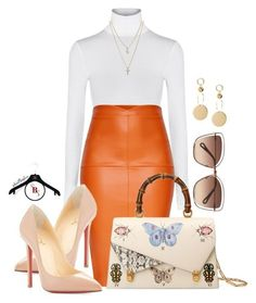 Office Run by spivey-adrian on Polyvore featuring polyvore fashion style Wolford Christian Louboutin Gucci LOFT Chloé clothing