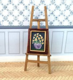 Flower vase painting Framed Original Miniature dollhouse painting Dolls House Art 1:12 scale by ArtInWax on Etsy