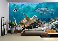 Underwater wallpaper theme. Fish, Dolphin and Sea Turtle ocean wallpaper for walls. This great mural is just one of our many wallpaper collections.