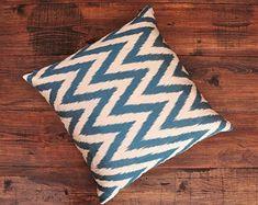ikat fabric throw pillow ikat cushion suzani decor by DecorUZ Ikat Pillows, Toss Pillows, Couch Pillows, Accent Pillows, Comfortable Pillows, Silk Pillow, Ikat Fabric, Blue Chevron, Fabric Textures