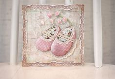 Pastellipäivä <3 A shabby baby card with the lovely pink shoes