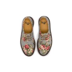 Dr Martens 1461 Pw Shoe GREY DENIM VICTORIAN FLOWERS - Doc Martens... ❤ liked on Polyvore featuring shoes, boots, ankle booties, flats, oxfords, grey oxfords, gray ankle booties, grey boots, denim boots and grey ankle booties