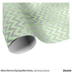 Glam Chevron Zig Zag Mint Green Silver Vip Wrapping Paper