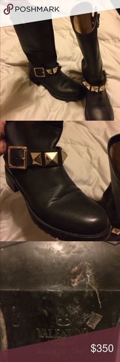Valentino Rockstud boots Black Valentino biker boots with gold Rockstuds and buckles.  Few scratches on leather but nothing too noticeable.  Size 37.  Ships in red Valentino box in dust bag.  Authentic. Valentino Shoes Combat & Moto Boots