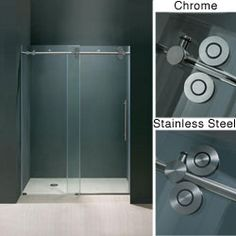 Aston sdr978 60 frameless clear glass sliding shower door http vigo frosted glass frameless shower door with stainless accentso bad you cant mount these puppies to crappy fiberglass surrounds planetlyrics Image collections