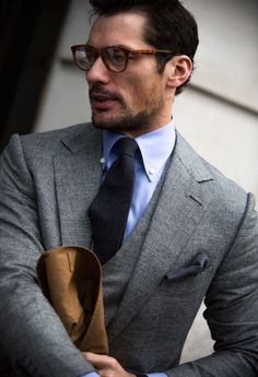 Our pick of the weeks style are these two. David Gandy in three-piece Prince of Wales suit with cornflower blue shirt and Johannes Huebl with navy roll neck worn with a mid grey suit.