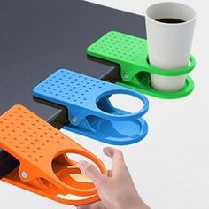Amazon.com: New Arrival Office Table Desk Drink Coffee Cup Holder Clip Drinklip 4pcs/lot free shipping random color: Home & Kitchen