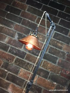 Industrial Floor Lamp  Copper Shade  Edison Bulb