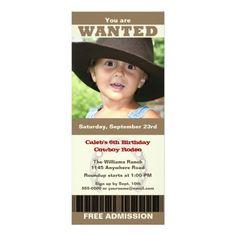 Photo Cowboy Birthday 4x9.25 Paper Invitation Card