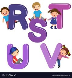 Cartoon kids with rstuv letters Royalty Free Vector Image Alphabet Crafts, Alphabet Activities, Book Activities, Preschool Learning, Early Learning, Preschool Activities, Alphabet Pictures, School Clipart, Letter Vector