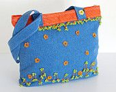 Jean Shoulder Bag in Blue, Green, Orange Polka Dot Crochet Flower Bohemian Chic Hippie Boho Gypsy Style Fashion