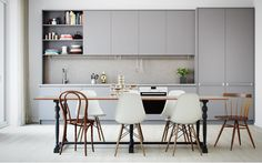 41 Awesome Scandinavian Dining Room Design With Swedish Style - Home Design Modern Kitchen Cabinets, Kitchen Interior, New Kitchen, Kitchen Dining, Kitchen Decor, Grey Cabinets, Kitchen Craft, Design Kitchen, Kitchen Ideas