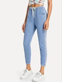 Cheap Ripped Jeans, Skinny Jeans, Romwe, Flare Leg Jeans, Type Of Pants, Ankle Jeans, Drawstring Waist, Latest Trends, Mom Jeans