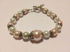 Bridal Vintage Style Beaded Bracelet  Pink by SugapieJewelry, $29.99