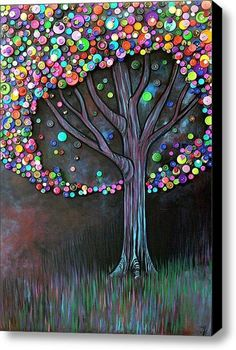 DIY pic for baby room...? so paint a tree and use buttons for leaves...sooo easy!