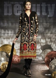 Dazzling Black Georgette Embroidery Work Designer Casual Churidar Suit